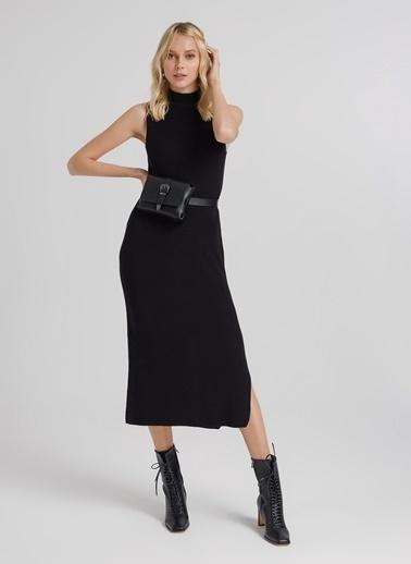 People By Fabrika Yırtmaçlı Kolsuz Triko Elbise Siyah